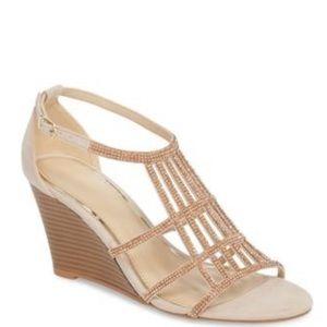 The Perfect Blush Crystal Embellished Wedge Sandal